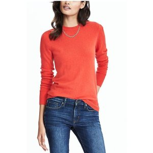 Italian Cashmere Blend Puff Sleeve Crew Pullover