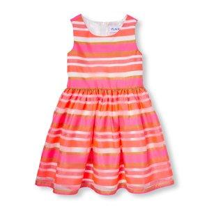 女孩条纹礼服裙