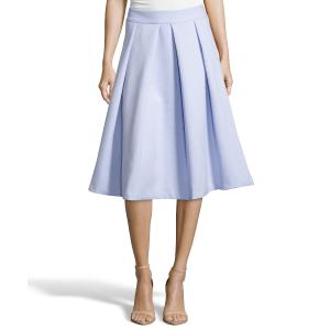 Hayden Pale Ice Blue Wide Pleated Ponte Tea Length Skirt (381378501) | Bluefly