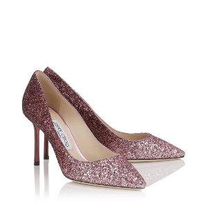 Pink and Bordeaux Dégradé Coarse Glitter Fabric Pointy Toe Pumps | Romy 85 | Autumn Winter 16 | JIMMY CHOO