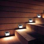 $10.99 Solar Lights, Pictek 3 LED Stainless Steel Solar Powered Panel Security Light for Outside, 2 Pack