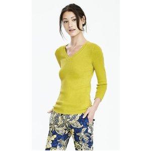 Rib-Knit Vee Sweater