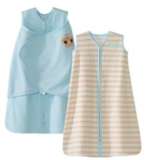 HALO SleepSack 100% Cotton Swaddle and Wearable Blanket Gift Set, Blue/Car Multi Stripe, 2 Piece