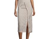 Acne Studios Asymmetric-Wrap Striped Skirt, Natural Stripe