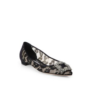 Hangisi Jeweled Lace Ballet Flats by Manolo Blahnik E