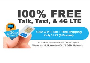 $1.99FreedomPop 3-In-1 4G LTE SIM Kit: Unlimited Talk & Text + 3GB Data Trial