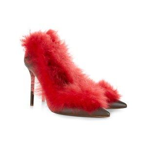 Malone Souliers 红色毛毛高跟鞋