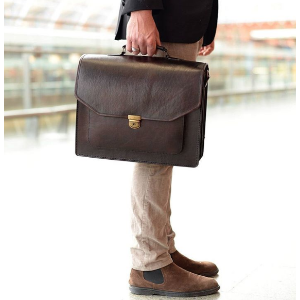 Large Classic Leather Briefcase Satchel