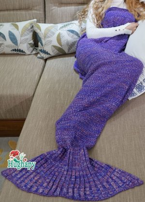 $10.49 Hughapy Mermaid Tail Blanket Crochet and Mermaid Blanket for adult, Super Soft Sleeping Blanket(71