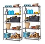 $69 Work Choice 5-Tier Commercial Wire Shelving Rack (black), 2- Pack Bundle