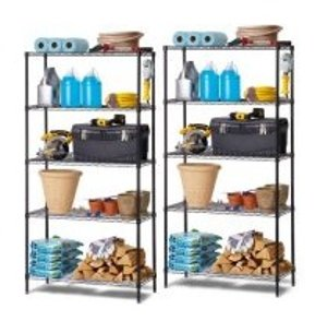 Work Choice 5-Tier Commercial Wire Shelving Rack (black), 2- Pack Bundle