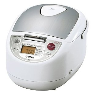 $79.99 Tiger JBA-T10U-WU 5.5-Cup (Uncooked) Micom Rice Cooker with Food Steamer & Slow Cooker, White