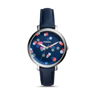 Jacqueline Three-Hand Blue Leather Watch