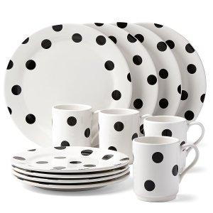 kate spade All in Good Taste Deco Dot 12 pc Set | Large Dinnerware Sets