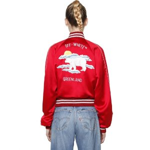 OFF WHITE - EMBROIDERED SILK SATIN BOMBER JACKET - CASUAL JACKETS - RED - LUISAVIAROMA