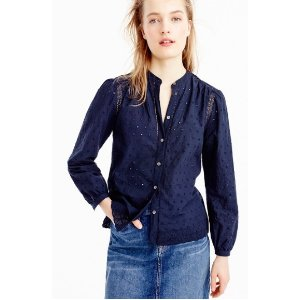 Eyelet button-up shirt