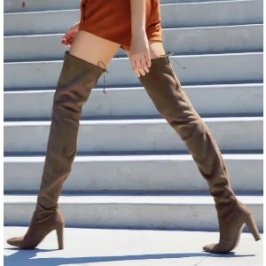 Stuart Weitzman - Lowland Suede Lace-Up Over-The-Knee Boots - Saks.com