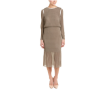Rue La La — Max Mara Silk-Trim A-Line Dress