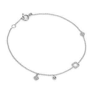 Mini Diamond Asymmetrical Bracelet in 14k White Gold (1/10 ct. tw.) | Blue Nile