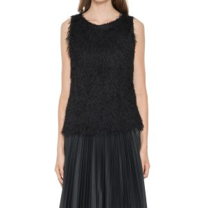 Designer Max Studio Shaggy Fringe Sleeveless Top by Leon Max