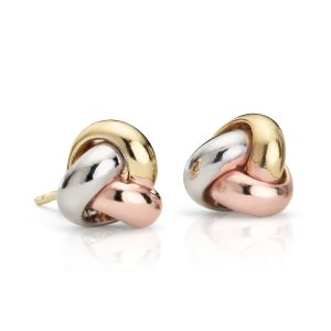 Trio Love Knot Earrings in 14k Tri-Color Gold (9.5mm) | Blue Nile