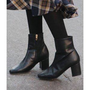 Block Heel Side Zipper Ankle Boots
