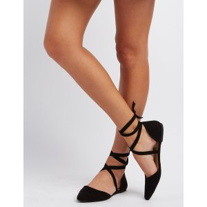 Pointed Toe Ankle Wrap Flats