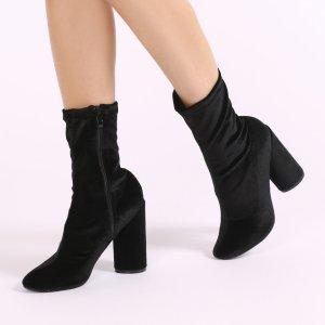Elsa Sock Fit Round Heel Ankle Boots in Black Velvet | Public Desire