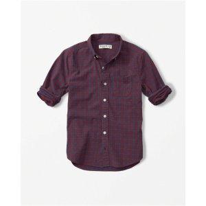 boys long sleeve cotton poplin shirt | boys stock up sale | Abercrombie.com