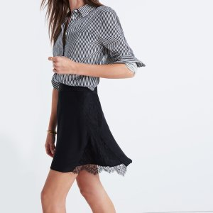 Silk Lowlight Lace-Inset Skirt
