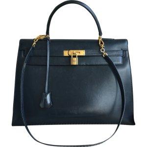 navy Leather HERMÈS Handbag - Vestiaire Collective