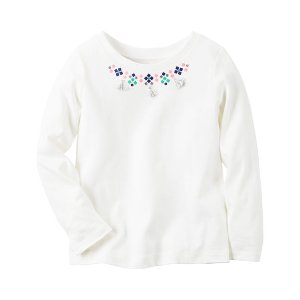 Toddler Girl Long-Sleeve Embellished Necklace Tee | Carters.com