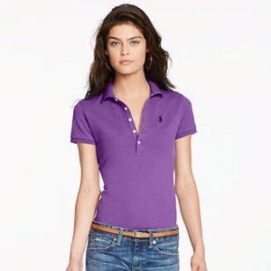Skinny Fit Stretch Mesh Polo衫
