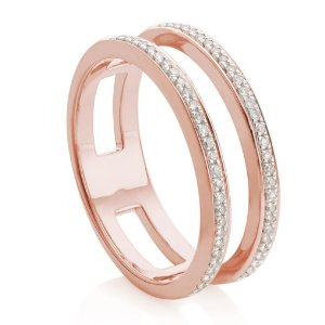 SKINNY DOUBLE BAND RING 18ct Rose Gold Vermeil on Sterling Silver