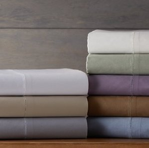 as low as $18.96 Pinzon 400-Thread-Count Hemstitch Egyptian Cotton Sheet Set - Queen, Light Grey