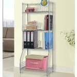 LANGRIA 4-Tier Wire Bookshelf Metal Shelving for Home or Office Storage and Organization