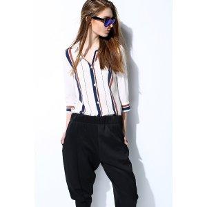 Pre-Order Color Block Stripe Silk Shirt TP0840