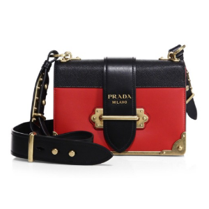 Prada Cahier Notebook Leather Shoulder Bag
