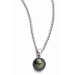 Mikimoto 9MM Black Round Cultured South Sea Pearl & 18K White Gold Pendant Necklace
