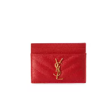 Saint Laurent Monogram Matelass Leather Card Case, Red