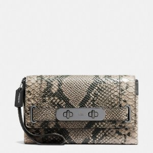Coach Swagger Clutch In Python Embossed Leather