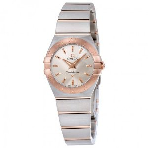 Omega Constellation Silver Dial Stainless Steel and 18K Rose Gold Ladies Watch 123.20.24.60.02.001 - Constellation - Omega - Watches - Jomashop