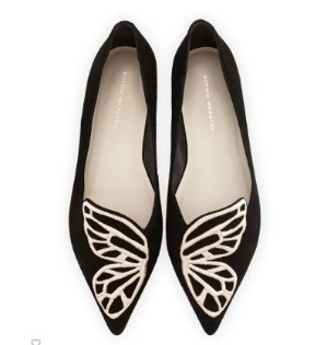 Sophia Webster Bibi Butterfly Embroidered Suede Flat, Black/Rose Gold