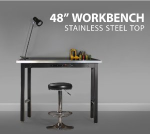 Metal Workbench with Stainless Steel Top