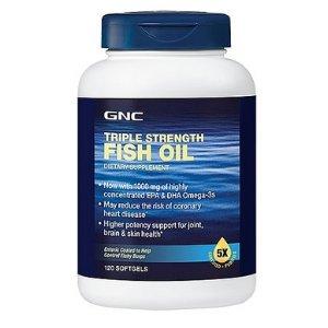 GNC Triple Strength Fish Oil, 1000 mg, 120 Softgel