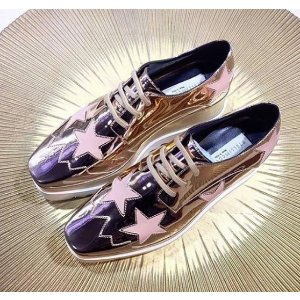 Stella McCartney Elyse Straw Platform Derby Shoes