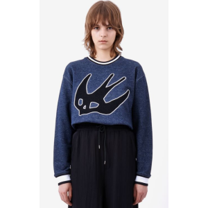 Swallow Patch Cropped Sweatshirt McQ