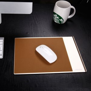 Seenda Highly Stylish Aluminium Mouse Pad Non-Slip Rubber Base and Brown PU Leather Surface