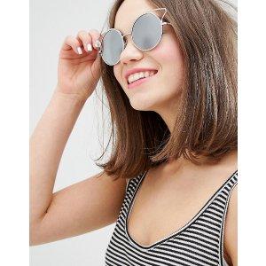 Monki Reflective Metal Detail Sunglasses
