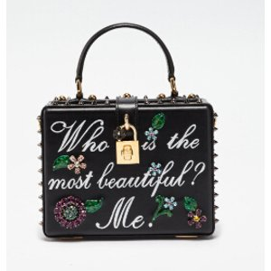 LEATHER DOLCE BOX BAG WITH WRITING AND APPLIQUÉS